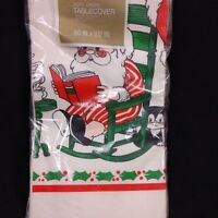 Vintage Christmas Paper Tablecloth Santa Border Print 60x102 in Rectangle