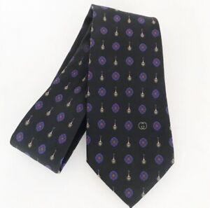 GUCCI - Men's 100% Silk Black Purple Floral Logo Tie