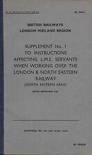 British Railways London Midland Supplement NE Area Nov.58  Trade Railway Booklet