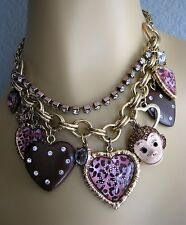 BETSEY JOHNSON JUNGLE BOOK MONKEY HEART CHARM STATEMENT NECKLACE~NWT~RARE