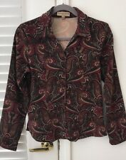 Notations Petite Women's Blouse Paisley Shirt Button Front Top Brown size PS