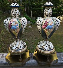 Antique Large CAPODIMONTE Pair Porcelain Table Lamps Italy Italian Dolphin Feet