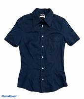 Woman's D&G DOLCE & GABBANA Black Button Up Shirt Short Sleeve Size 24/38 Small