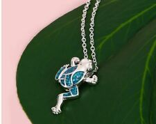 SILVER FILLED BLUE SPARKLE OPAL FROG PENDANT NECKLACE
