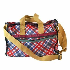 LESPORTSAC RED BLUE PLAID DUFFLE TRAVEL BAG ADJUSTABLE STRAP LOCK TOP W/ KEYS