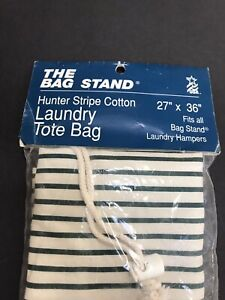 The Bag Stand brand Green White Stripe Fabric Laundry Hamper Bag Replacement NEW