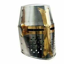 Medieval Knight Helmet Norman Crusader Templar Helmet w/ Mason's Brass Cross