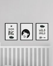 Set of 3 Bear Scandi Dream Big Animal Baby Nursery Wall Art Prints Black & White