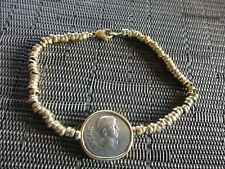 14K YELLOW GOLD CHAIN BRACELET w/OCTAVIANUS & MARCUS ANTONIUS AR DENARIUS COIN