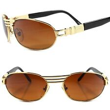 Classic True Vintage Indie Fashion Amber Lens Gold Oval Rectangle Sunglasses