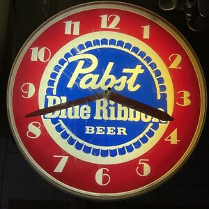 RARE PABST BLUE RIBBON LIGHTED WALL CLOCK SIGN (WORKS)