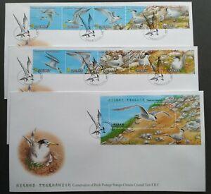 2002 Taiwan Conservation of Birds Crested Tern FDC (3 cvrs)台湾保育鸟类-黑嘴端凤头燕鸥首日封(3封)