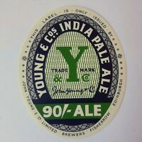 Vintage Beer Label Young & Co Edinburgh Scotland Ale Green New Old Stock 3""