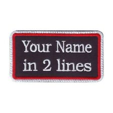 Rectangular 2 Line Custom Embroidered Biker SEW ON  Name Tag PATCH (WRW)