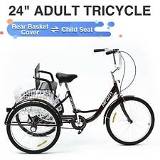 Adult Tricycle Three Wheel Trike Bike Cruiser with Rear Basket Child Seat 24