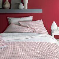 Bettwäsche Set 2 tlg. rot weiß bedruckt 135 x 200 cm, 80 x 80 cm
