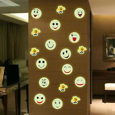 Hot sale Room Decoration Emoji PVC Wall Stickers Smiley Face 3D Luminous Decal