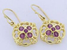 E024 - Exquisite Genuine SOLID 9ct Gold NATURAL Rhodolite Garnet Drop Earrings