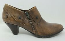 Born Tanya Ankle Bootie Brown Size 10 Womens Leather Zip Up Boots