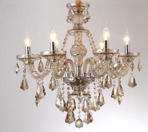Lampadario vetro 6 punti luce lampada salotto sospensione gocce cristallo bronzo