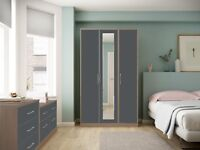 Ready Assembled Melrose Oak Grey High Gloss Wardrobe Complete Bedroom Furniture
