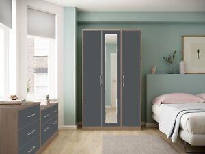 Ready Assembled Melrose Oak Grey High Gloss Wardrobe Complete Bedroom Furniture
