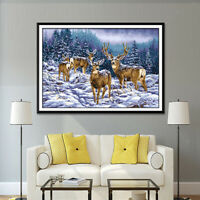 Stamped&Counted Cross Stitch Kit DIY Embroidery Crafts Woodland Deer Pattern