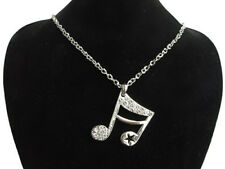 Gorgeous Necklack Rhinestone Silver Plated Music Note Music Band For Girlfriend