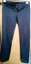 Pantalone in raso nero gessato Artigli donna taglia 42 con bottoni gioiello
