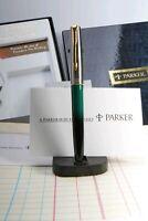 Parker FRONTIER, FP, Green/Black Swirl, GT, in Big Set Box, Ink, Converter