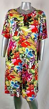 "INVESTMENTS  II DRESS SIZE 1X NECK RHINESTONE FORMAL ""LILY PALM"" NWT"