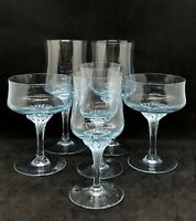 Set Of 6 Sasaki Hawthorne Azure (Light Blue) Wine Water Glasses