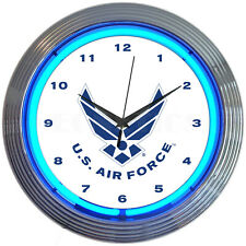 Air Force Neon Clock sign Usaf approved Veteran wall lamp light Jet Pilot art