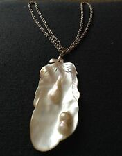 Vintage Blister Pearl Pendant 18KGF Bail + Sterling Silver Necklace