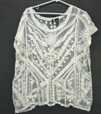 NWT New Direction 100% Cotton Women's XL Lace Sheer Short Sleeve Blouse Cream