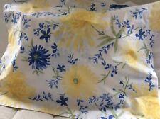 Llbean Standard Pillow Sham Blue Yellow Floral Nwot