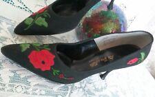 Vtg Collector 1960 Heel Shoe 8Aaa I. Miller Black W/ Flowers Beautiful Classic