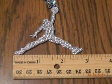 MIP-Large size-Iced out Air Jordan SilverTone pendant matching 24inch 4mm chain