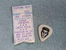 Vtg Cheap Trick April 27 1979 Freedom Hall Johnson City, Tn Ticket & Guitar Pick