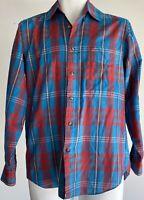 Levis Mens Vintage Colorgraphs Long Sleeve Button Up Size Small Plaid Blue/Red