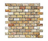 Scabos 1 X 2 Tumbled Travertine Brick Mosaic Tile