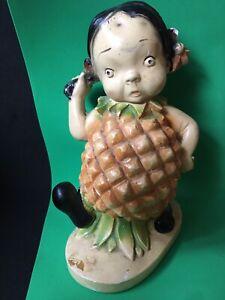 Peedee Vtg 1940s  Hawaiian Fruit Kids Chalkware Girl  Figurine Anthropomorphic