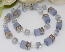 Collier Halskette Würfel Cube Cat Eye Kristallglas AB hellblau blau Strass 510w