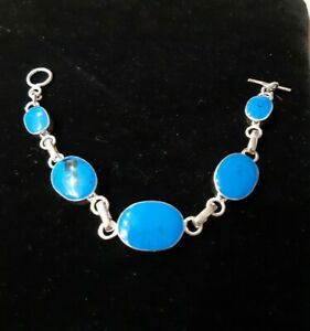 MEXICAN 999 SILVER PLATED TURQUOISE STONE ROUND BRACELET BANGLE CONTEMPORARY