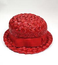 Vintage Bowler Hat Sz S Ladies Red Shiny Raffia Straw Narrow Brim 60s J-Go Vogue