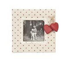 Clayre & Eef Bilderrahmen Stoff beige rote Herzen mit Herzanhänger