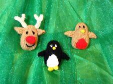 KNITTING PATTERN - Reindeer / Robin / Penguin brooch / badge / tree decorations