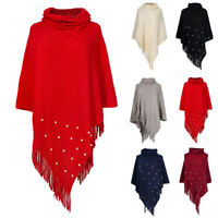 Women Winter Fashion Knitted Poncho Capes Shawl Cardigans Warm Sweater Coat