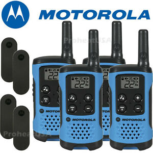 Motorola Talkabout T100 Walkie Talkie 4 Pack Set 16 Mile Two Way Radios Blue