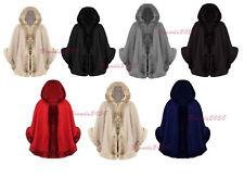 WOMENS CELEBRITY PONCHO LADIES DESIGNER FAUX FUR TRIM HOODED CAPE SHAWL COAT